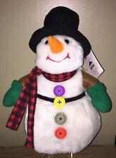 VINTAGE 1995 SHARAN SIMKINS Holiday Workshop 4 Button Snowman Plush