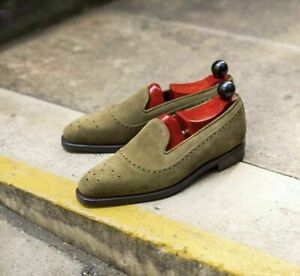 New Handmade Pure Olive Suede Leather Stylish Loafer Moccasin Shoes for Men's