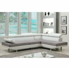 2 Piece Modern Contemporary White Faux Leather Sectional Sofa, Living Room Couch