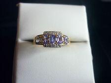 Stunning Tanzanite and Diamond Sterling Silver Ring - U.S. Size 7