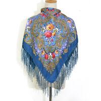 AUTHENTIQUE Foulard Châle Russe en coton Bleu