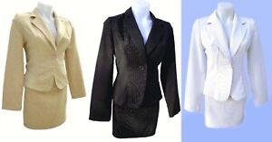 Countess Pinstripe Blazer & Skirt Suit - Black-White-Beige SIZE & COLOR CHOICE