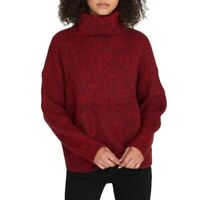 Sanctuary women's roll turtle neck red knit pullover long sleeve sweater size: L