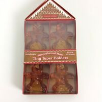 William Sonoma Set Of 4 Gingerbread Man Tiny Taper Glass Candle Holders NEW