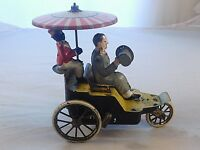 ANTIQUE MARKE LEHMANN DRIVER & RIDER WIND UP TIN TOY AUTO ONKEL MADE in GERMANY