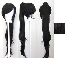 40'' Wavy Pony Tail + Base Natural Black Cosplay Wig NEW