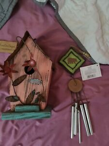 Pink Flowers Bird House With Wind Chimes