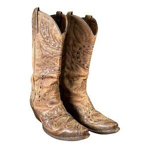 DAN POST Women's 7.5 Sidewinder DP3422 Cowboy Western Leather Boots TAN Brown
