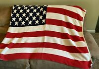 """Patriotic AMERICAN FLAG COTTON THROW BLANKET by Retriever,  68"""" X 58"""" preowned"""