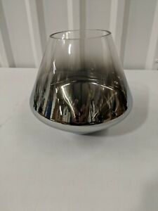 """West Elm Sculptural Glass Shade Small Geo Silver Ombre, 8""""diam. x 7.5""""h, OpenBox"""