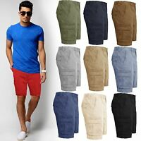 MENS KNEE LENGTH CHINO BOTTOMS CARGO COMBAT PANTS COTTON SHORTS BIG SIZES 30-46