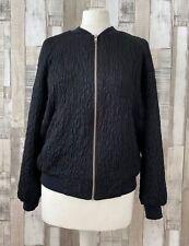Topshop Black Floral Embossed Bomber Jacket Size 12