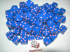 NEW 100 BLUE OPAQUE DICE w/ PINK PIPS 16MM FREE SHIPPING BUNCO CRAPS YAHTZEE