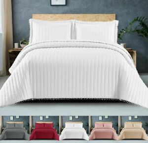 3 Piece Quilted Bedspread Throw Single Double King Super King Size Bedding Set
