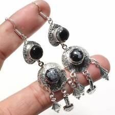 """Rb-2052 Snowflake Obsidian,Black Onyx 925 Sterling Silver Plated  Earring 3.59"""""""
