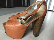 Jessica Simpson Dany sandals high heels platform shoes tan brown US10  eur 40-41