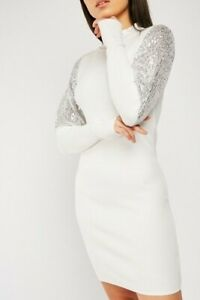 Women soft knitted sequin sleeve jumper dress size 10 white and silver