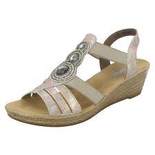 Ladies Rieker 62459 Illinois Pink/multi Jewelled Elasticated Wedge Heel Sandals EU 40