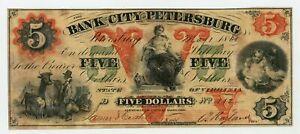1861 $5 The Bank of the City of Petersburg, VIRGINIA Note - CIVIL WAR Era