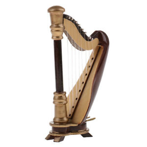 25cm 8-Strings Harp with Box Dollhouse Miniature Music Instrument Collection