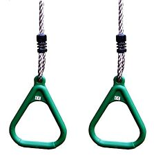 Kids Swing Rings Green Outdoor Adjustable Gym Rings for Climbing Frames