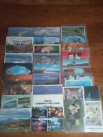 LOT OF 30 ASSORTED POSTCARDS ALL WITH STAMPS, USED & POSTMARKED 1950-1990'S