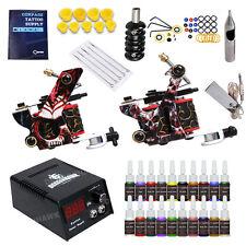 Complete Tattoo Kit Machine Gun Color Ink Power Supply Needle Tip HW-9DD