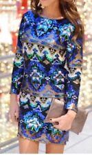 Zara lentejuelas Vestido Estampado Geométrico Vestido Talla M UK 10 Genuino Zara