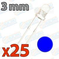 LED Ultra Brillo 3mm 20mA - AZUL - Lote 25 unidades - Arduino Electronica DIY