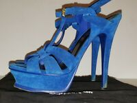 YSL Saint Laurent Tribute 36 US 6 Blue Electric Suede Platform Sandal