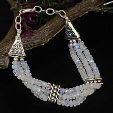 TOP MOST STRIKING 109.00 CTS NATURAL ELEGANT WHITE MOONSTONE BEADS BRACELET $$$