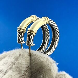 David Yurman 14K Yellow Gold 925 Sterling Silver Metro Classic Cable Earrings