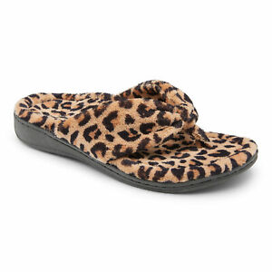 Vionic Womens Indulge Gracie Leopard Natural Leopard Slippers Size 10