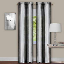 Luxurious Sombre 2 panels window curtain  dip dye trends black / white
