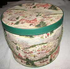 "Grandma Moses Deep Winter Barkcloth Covered 1950's Lg Round Sewing Box 13""X10"""