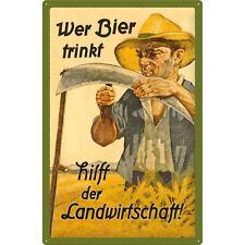 WER BIER TRINKT HILFT DER LANDWIRTSCHAFT - BLECHSCHILD XXL 40X60 CM  24006 BAUER