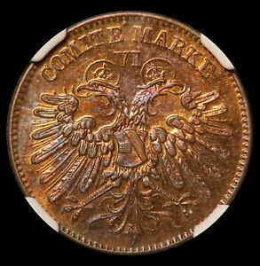 1865 Germany Bremen Shooting Festival Bronze Medal Jeton - NGC MS 63 BN