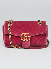 Gucci Pink Velvet GG Marmont Small Metelasse Shoulder Bag