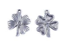 30Pcs Tibetan Silver Four Leaf Clover Lucky Charms FC36130