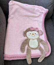 "Koala Baby Pink Brown 3D Monkey Plush  30"" x 40"" Crib Security Blanket Lovey"