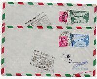 1961 REPUBBLICA VOLO SPECIALE DEL PRESIDENTE 170+185 LIRE SU 2 AEROGRAMMI D/3025