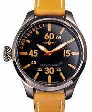 Chotovelli Mens Pilot Aviator Watch Black dial Italian Camel leather strap 52.02