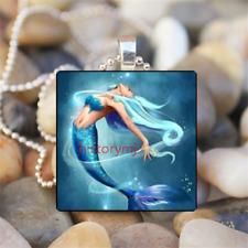 Silver Tile Chain Pendant Necklace Mermaid Princess Girl Art Cabochon Glass