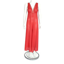 SEARS Vintage 60s  Red Fun Flirty Wide Leg Jumpsuit/Lounger  Lingerie Medium