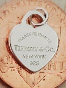 Please Return Tiffany & Co New York Sterling Silver Heart Tag Pendant Charm Mini
