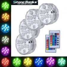 4PCS Submersible RGB Led Lights Battery Under Water Spot Lights +Remote Control