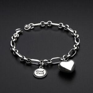 """D08 Bracelet avec Coeur et Pendentif """" Good Luck """" 925 Argent"""