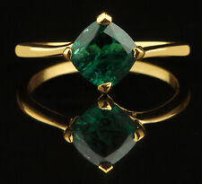 14KT Finest Yellow Gold 1.30Ct Cushion Cut Natural Zambian Green Emerald Ring