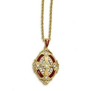 """30"""" Gold-Tone Synthetic Crystal Red Enameled Cross Necklace"""