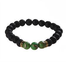 Natural Lava Turquoise Stone Healing Balance Yoga Reiki Buddha Prayer Bracelet
